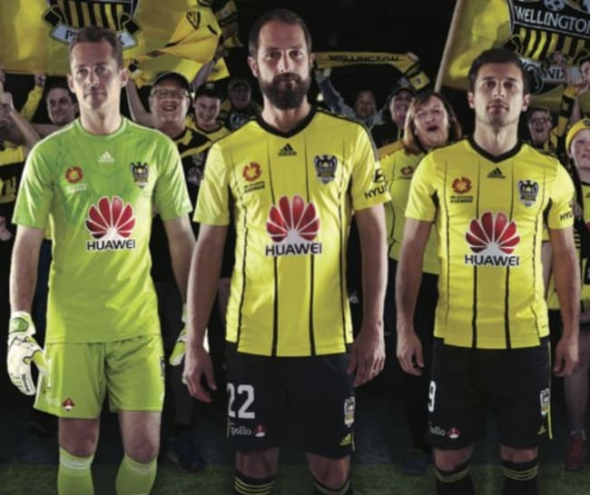 Wellington's players in their new home kit.