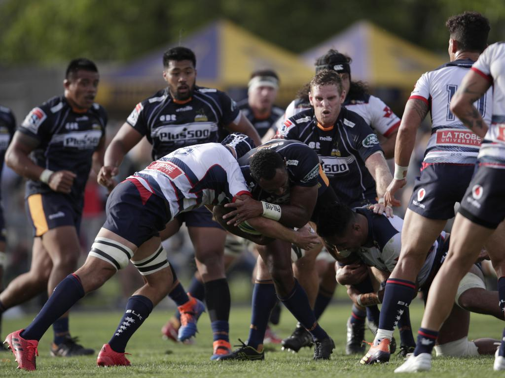 The Brumbies hit the ball up in contact.