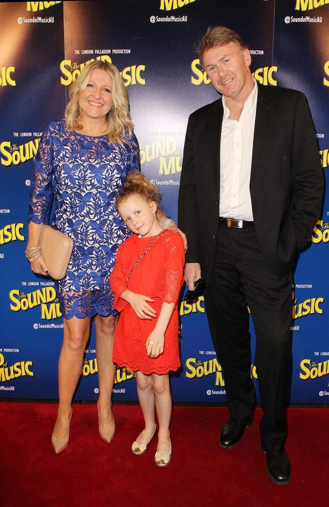 Angela Bishop with husband Peter Baikie and their daughter Amelia in 2015. Picture: Christian Gilles