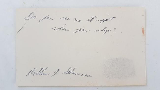 A chilling handwritten note from American serial killer Arthur Shawcross to Amanda Howard. Picture: Amanda Howard/News Corp