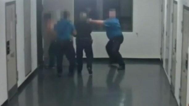 CCTV captured a senior prison officer at Eastern Goldfields Regional Prison pepper spray an already compliant prisoner at close range. Picture: 9 NEWS