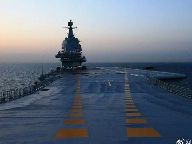 China's home-built 001A aircraft carrier on a recent test voyage. Picture: PLAN