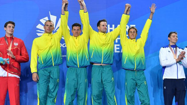 Gold medalists Kyle Chalmers, Jack Cartwright, James Magnussen and Cameron McEvoy