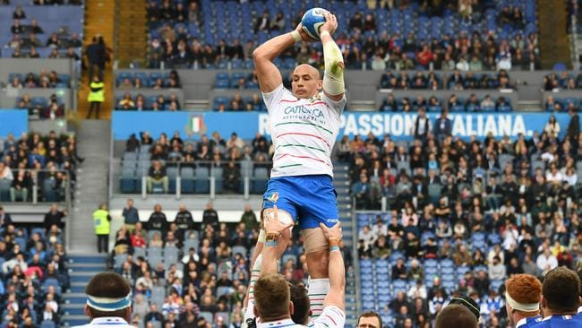 Italy No 8 Sergio Parisse grabs the ball in a lineout at the Olympic Stadium in Rome.