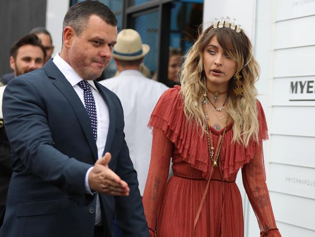 Paris Jackson arrives at the Myer marquee. Picture: Alex Coppel.