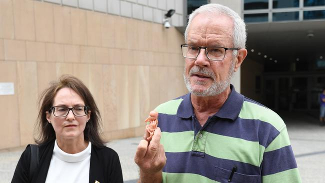 Anti-abortion protesters Graham Preston (right) and Kathleen Clubb are seen leaving the High Court in Brisbane today. Picture: Dave Hunt/AAP