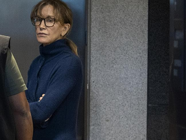 Actress Felicity Huffman is seen inside the Edward R. Roybal Federal Building and US Courthouse in Los Angeles. Picture: AFP