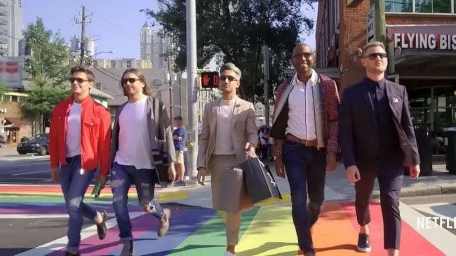 The fab Five - Antoni, Jonathan, Tan, Karamo and Bobby - in the show's opening credit scene. Photo: Netflix