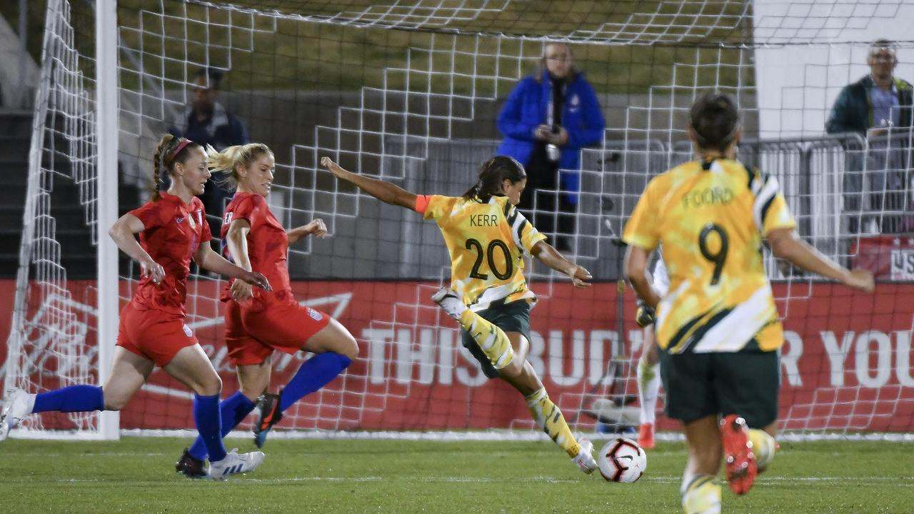 Sam Kerr's Matildas are out for glory. (Photo by Michael Ciaglo/Getty Images)