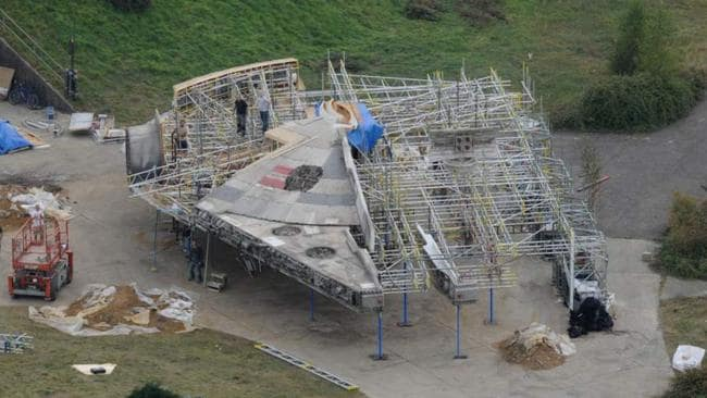 Teaser ... leaked photos from the Star Wars Episode VII set showing the Millennium Falcon under construction. Picture: Supplied