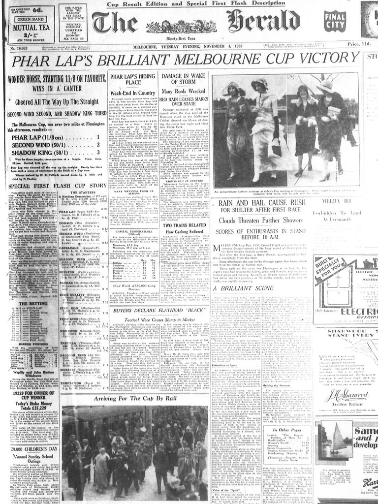 Front page article of The Herald about Phar Lap's Melbourne Cup win.