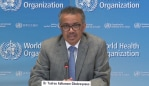 WHO Director-General Dr Tedros Adhanom Ghebreyesus speaking at a virtual press conference.
