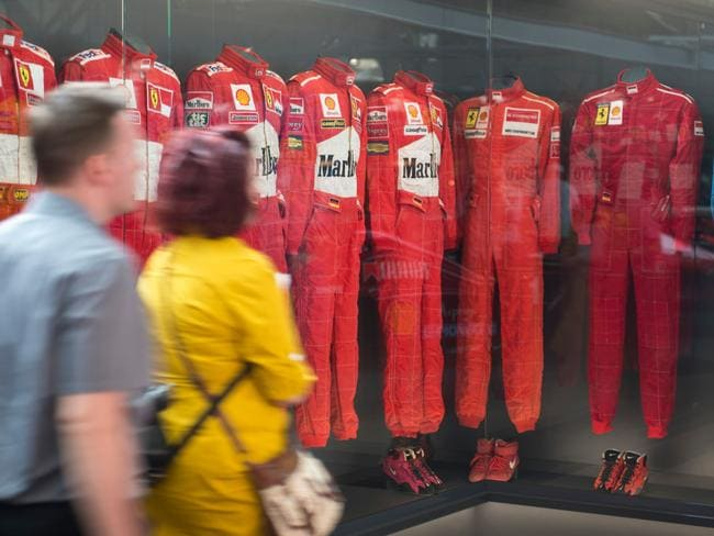Michael Schumacher´s suits on display at the newly-established Motorworld in Cologne.
