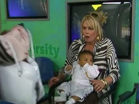 Joanna Lumley with a baby Mya-Lecia Naylor in Absolutely Fabulous. Picture: BBC