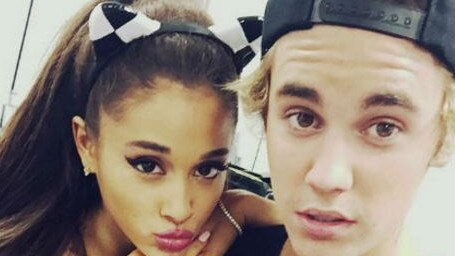 Fellow pop star Ariana Grande with Justin Bieber. Picture: Supplied
