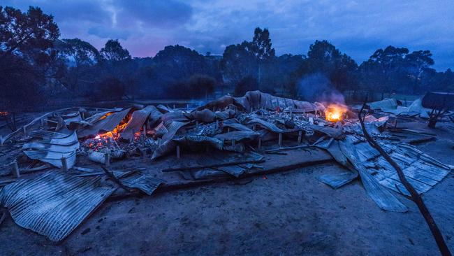 Bushfire has destroyed a property called Wattle Grove along Three Chains road as well as shed. Picture: Jason Edwards
