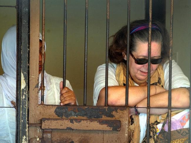 Close friend and confidante ... Lindsay Sandiford inside a holding cell after her trial at a court in Denpasar, Bali in 2013. Pic: AFP PHOTO / SONNY TUMBELAKA