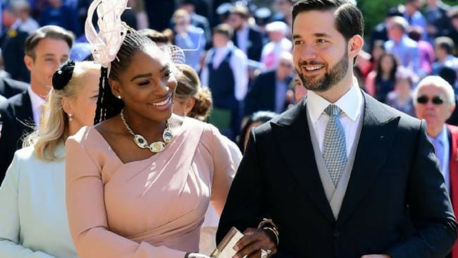 Williams and husband Alexis Ohanian arrive at the wedding. Picture: AFP