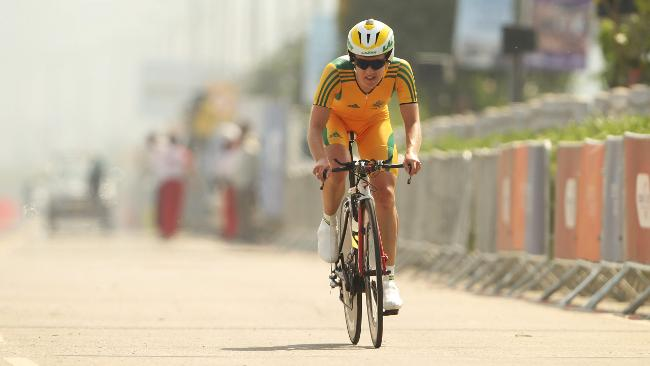 Vicky Whitelaw feels the heat as she comes to the end of her time trial.