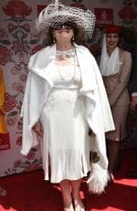 Gina Rinehart makes a rare appearance at the Cup in a whole lotta white. Picture: AAP Image/Julian Smith