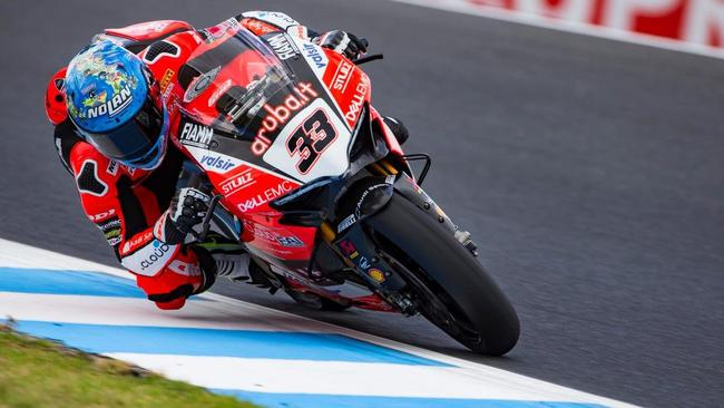 Ducati rider Marco Melandri during World Superbike pre-season testing at Phillip Island. Picture: Graeme Brown