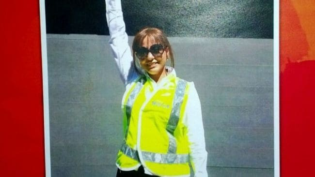 The Sydney Water employee collapsed when she saw her photo used on the poster. Image: Supplied.