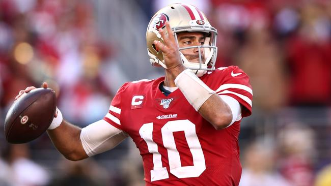 Quarterback Jimmy Garoppolo won his first playoff game as a starter. Picture: Getty Images