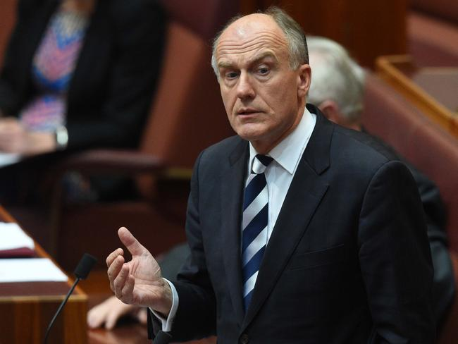 Liberal Tasmanian senator and former cabinet minister Eric Abetz was a reportedly a co-ordinator of the efforts to undermine the Government. Picture: AAP Image/Mick Tsikas