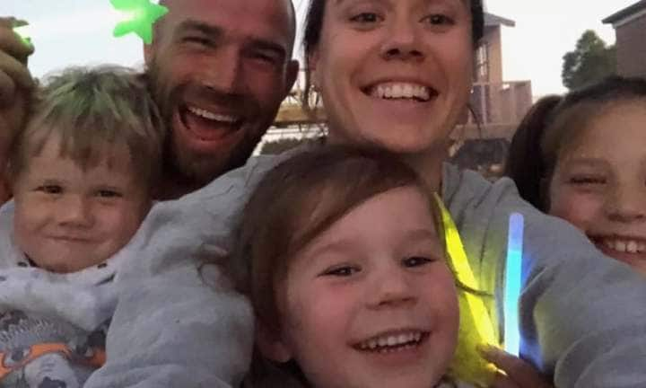 Darcy, dad Travis, Mackenzie, mum Sasha and Taylor Membrey on New Year's Eve 2018