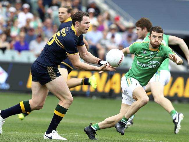 Patrick Dangerfield in action against the Irish. Picture: Sarah Reed.