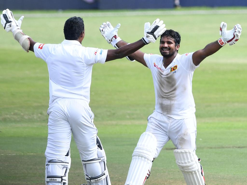 Vishwa Fernando and Kusal Perera of Sri Lanka celebrates Sri Lanka's win.