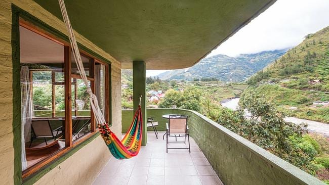 One of the balconies at La Casa Verde, with a view over the Pastaza River.