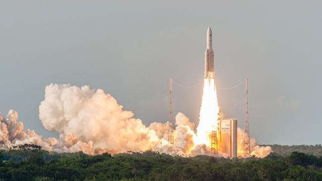 An NBN Satellite launched into space in 2016 to deliver wireless internet to remote areas.