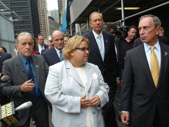 Tania Head takes former Mayor Rudy Giuliani, Governor George Pataki and Mayor Michael Bloomberg on the first guided tour of ground zero. Picture: David Handschuh/NY Daily News via Getty Images