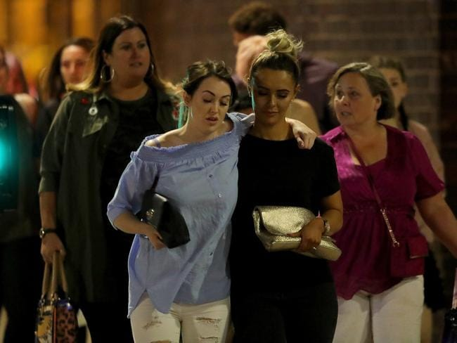Concertgoers leaving Manchester Arena after the attack. Picture: Getty