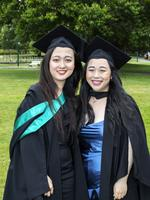 wenlu Yu and Annie Ng at the UTAS Graduation at Launceston. PICTURE CHRIS KIDD