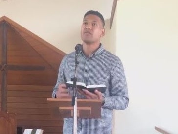 Israel Folau preaches at his church.