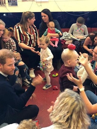 Harry looked at ease as he mingled with the mums. Picture: Instagram/SussexRoyal