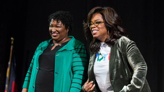 Oprah Winfrey and Georgia Democratic candidate Stacey Abrams. Picture: Getty