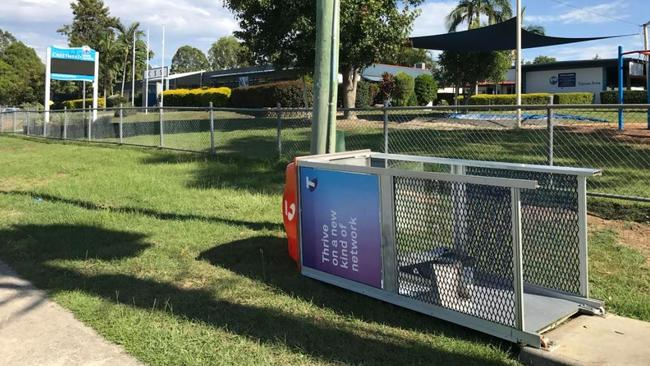 Storm damage outside Crestmead State School. Picture: Jacob Miley
