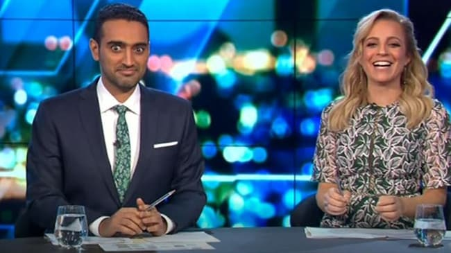 Waleed Aly appeared somewhat shocked by Carrie Bickmore's confession. Picture: Channel 10