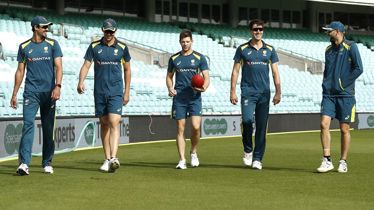 Australia's bowlers at training on Tuesday.