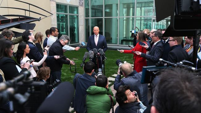 Peter Dutton holding a press conference at Parliament House today. Picture Kym Smith