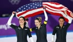PYEONGCHANG-GUN, SOUTH KOREA - FEBRUARY 21: Heather Bergsma, Brittany Bowe, Mia Manganello and Carlijn Schoutens of the United States celebrate after winning the bronze medal in the Speed Skating Ladies' Team Pursuit Final B against Canada on day 12 of the PyeongChang 2018 Winter Olympic Games at Gangneung Oval on February 21, 2018 in Gangneung, South Korea. (Photo by Amin Mohammad Jamali/Getty Images)