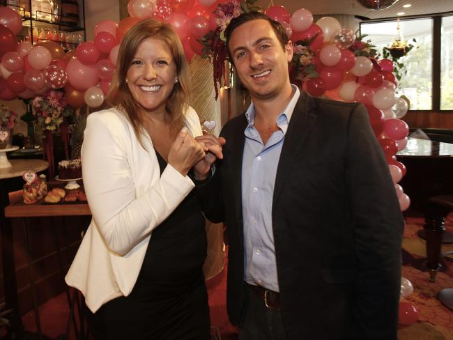 Six months pregnant Alex and her husband Jono at the launch of Pink Hope Pinky Promise campaign. Picture: Quentin Jones.
