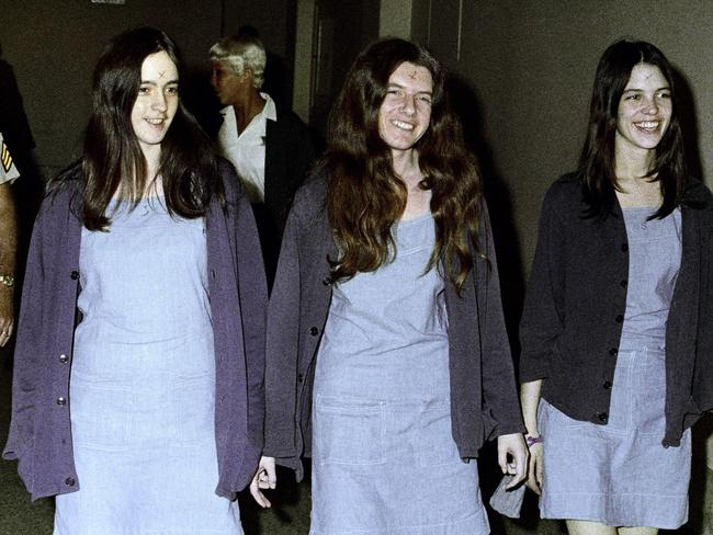 Manson followers (from left) Susan Atkins, Patricia Krenwinkel and Leslie Van Houten in court in 1970. Picture: AP