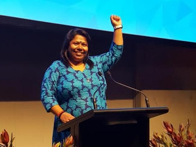 Kalpona Akter, pictured at the Voices for Justice Dinners this week, received the Alison Des Forges Award for Extraordinary Activism. Picture: Human Rights Watch