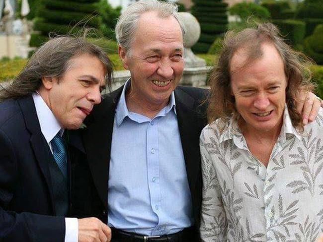 The Young Brothers are Malcolm Young (left) with Angus Young (right) and older brother and former Easybeats member George Young (centre). Picture: Facebook