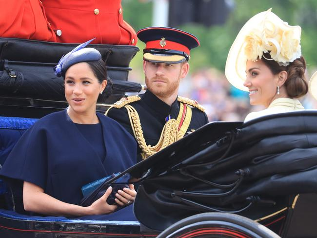 Meghan and Harry with Kate at the Trooping of the Colour earlier this month. Picture: Gareth Fuller/PA Wire