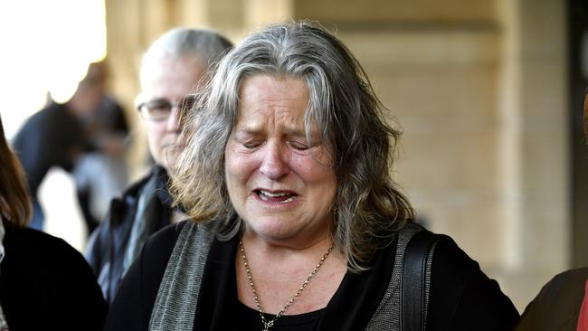 Julie Kelbin, mother of one-punch victim Jack Hanley, speaks to media at the Supreme Court in Adelaide, Monday, July 1, 2019. Picture: AAP/Sam Wundke